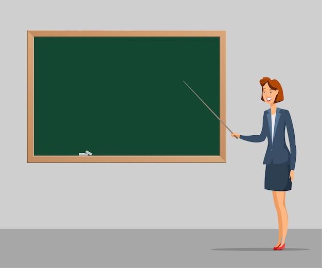 Illustrazione di lezione scolastica, insegnante femminile in piedi con il puntatore vicino alla lavagna.
