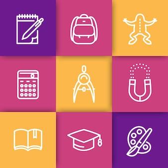Set di icone della linea scolastica, istruzione, università, studio