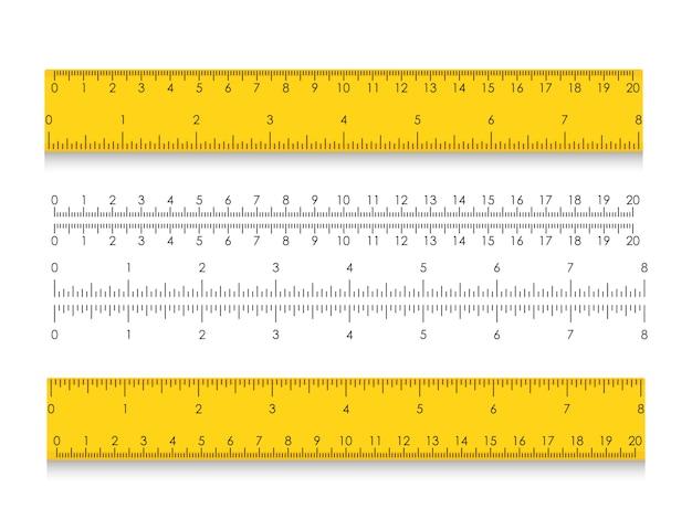 Righello di misurazione della scuola con centimetri e pollici. indicatori di dimensione con diverse distanze unitarie. illustrazione