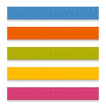 Righelli di misurazione della scuola con centimetri e pollici