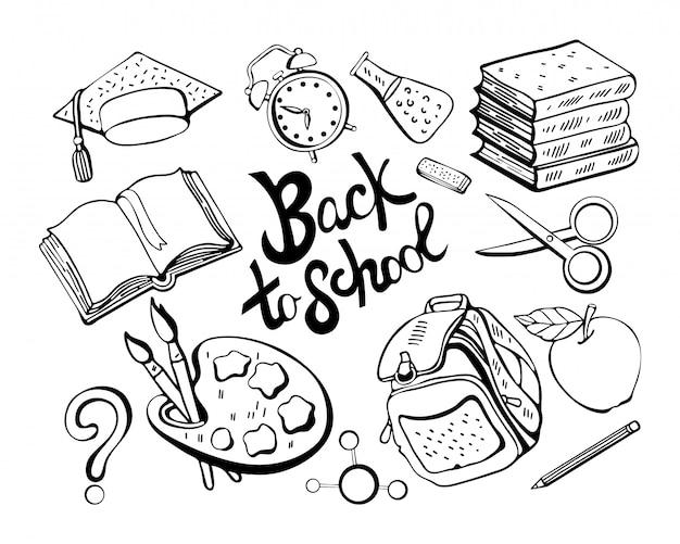 Scuola monocromatica impostata nel vettore. materiale scolastico in bianco e nero per materie di studio, libri, libri di testo, matita, gomma, valigetta. isolato su sfondo bianco. rispondere a scuola.