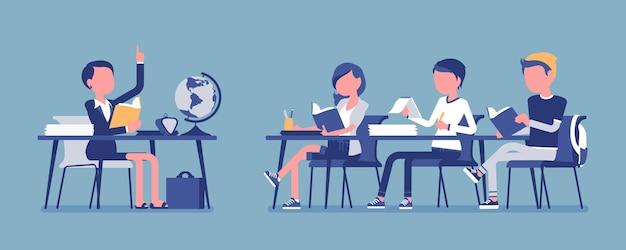 Comportamento normale della scuola. condotta soddisfacente, corretta ed educata in aula durante la lezione, gli studenti con attività organizzata disciplina. illustrazione vettoriale con personaggi senza volto