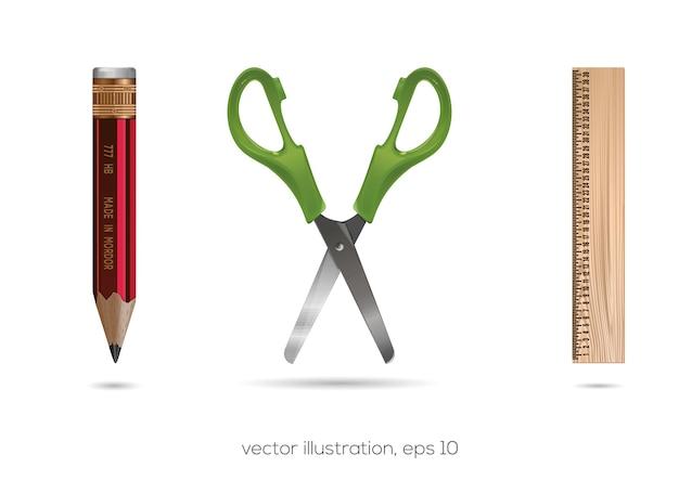Set di icone di scuola e ufficio. accessori per la scuola e l'ufficio. matite, righelli, forbici. illustrazione vettoriale
