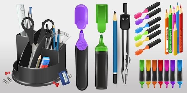 Organizzatore scolastico con forbici, matite e pennarelli. materiale scolastico