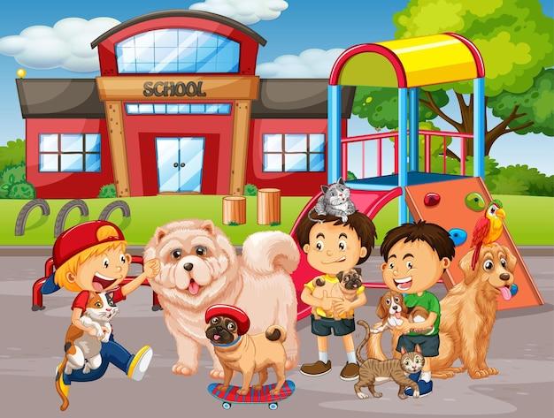 Scena all'aperto della scuola con un gruppo di animali domestici e bambini