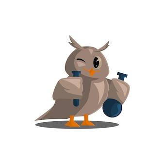 Gufi della scuola. colora simpatici uccelli che studiano chimica a scuola. insegnare l'educazione dei personaggi dei cartoni animati vettoriali