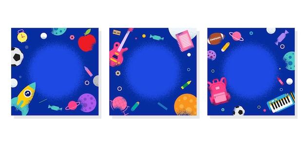 Cornice del profilo scolastico, ritorno a scuola, apprendimento, galassia spaziale, illustrazione.