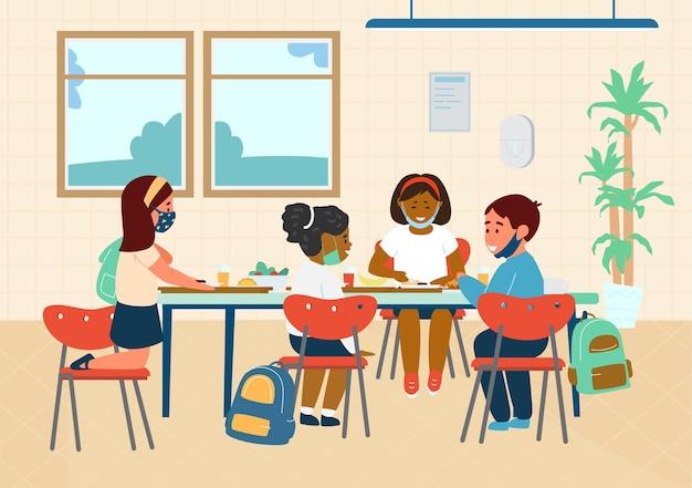 Gli alunni delle scuole in maschere protettive pranzando nella caffetteria della scuola. illustrazione piatta.