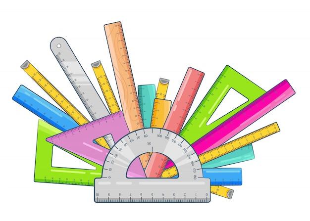 Composizione semicircolare elementi righello scuola. disposizione di vari tipi di righelli: nastro di misurazione, triangolo, goniometro, centimetro di metallo, scala di plastica. illustrazione su bianco.