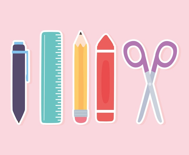 La penna del pastello delle forbici della matita del righello della scuola fornisce le icone