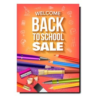Insegna di pubblicità del negozio degli strumenti di vendita della scuola