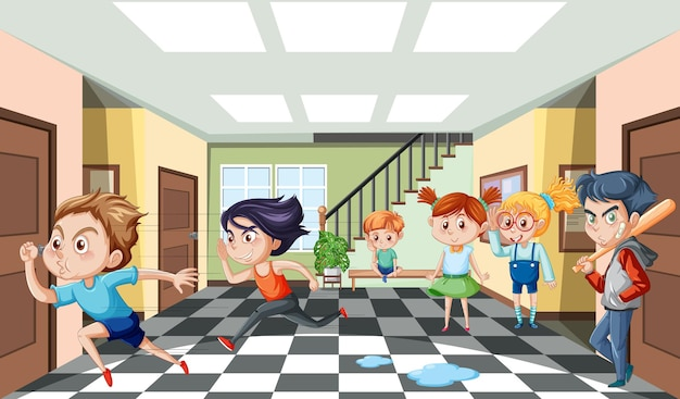 Scena della scuola con il personaggio dei cartoni animati degli studenti