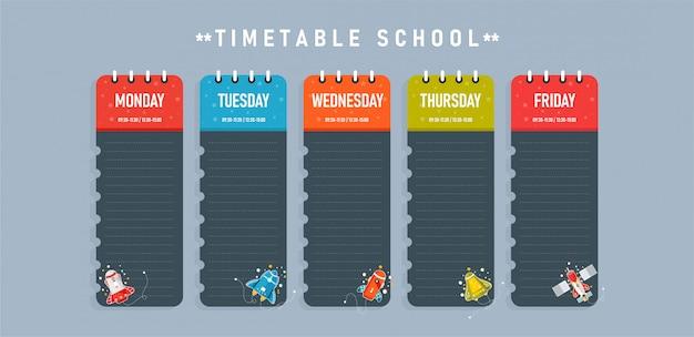 Modello di orario scolastico per poster, appunti, libri, fogli di memoria utilizzato nell'istruzione insieme al lavoro