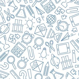 Modello senza cuciture della scuola, fondo blu della cancelleria di doodle di vettore. l'istruzione fornisce la trama. disegnato a mano