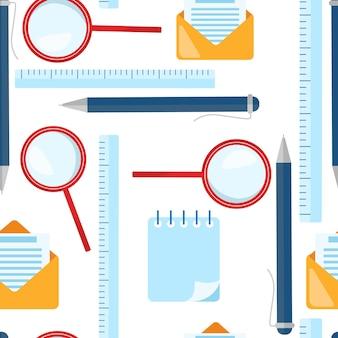 Modello senza cuciture di scuola. lente d'ingrandimento, penna a sfera, righello, elementi lettera busta. illustrazione vettoriale