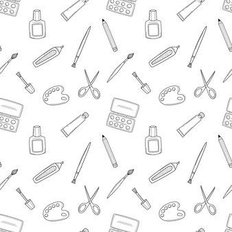 Un modello di scuola senza soluzione di continuità con strumenti artistici. pennello, pennarello, vernice, tavolozza, matita. nero bianco