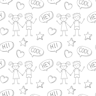 Un modello senza cuciture della scuola con un ragazzo e una ragazza carini disegnati in uno stile infantile. sfondo bianco nero