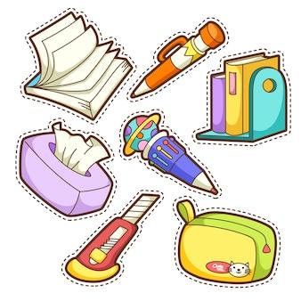 Set scuola. set di diversi articoli per la scuola, illustrazione.