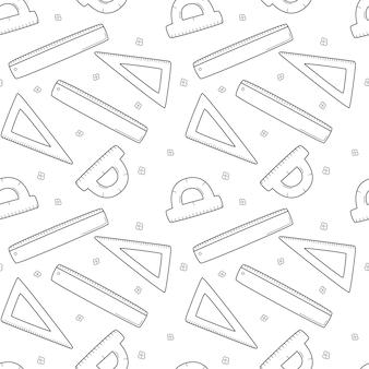 Scuola semplice modello senza cuciture con righello, triangolo, goniometro. matematica, geometria. nero bianco