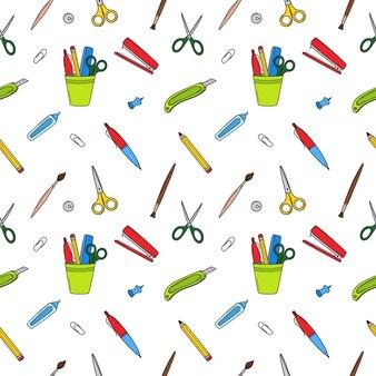 Scuola semplice modello senza cuciture con cancelleria, forniture per ufficio. sfondo vettoriale scarabocchio colorato