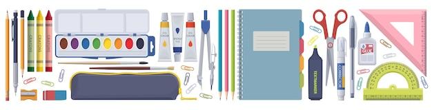 Set di cancelleria scolastica. elementi isolati su sfondo bianco.