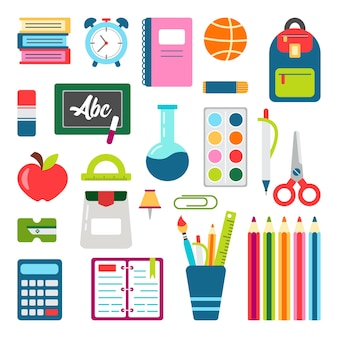 Set di cose per la scuola. torna a scuola fermo. forniture per l'istruzione.