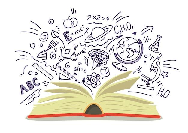 Argomenti scolastici. libro aperto con doodle di educazione e scienza.
