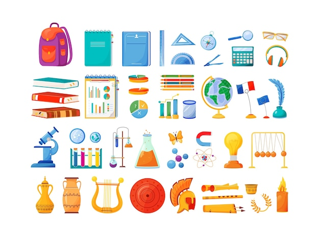 Materie scolastiche e fornisce oggetti di colore piatto impostati. blocco note e zaino per studenti. lezioni universitarie. arte, economia, oggetti di classe di fisica illustrazioni 2d del fumetto isolato su priorità bassa bianca