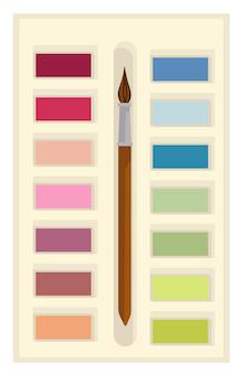 Materiale scolastico per lezioni d'arte, icona isolata della tavolozza con colori aquarelle e spazzola di legno. accessorio per dipingere e creare opere d'arte. guazzo o acquerello, vettore in stile piatto