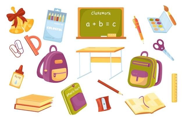 Forniture scolastiche set isolato di elementi carini