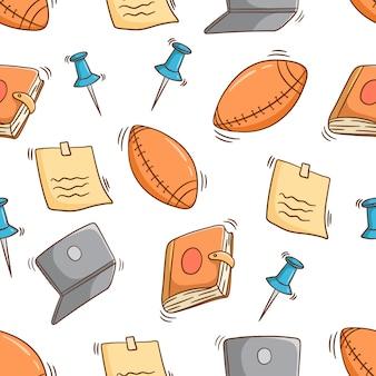 Materiale scolastico senza cuciture con stile doodle colorato