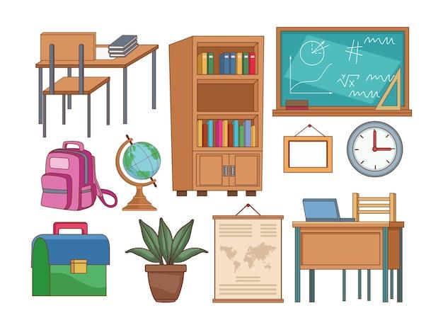 Forniture scolastiche set di icone di raccolta