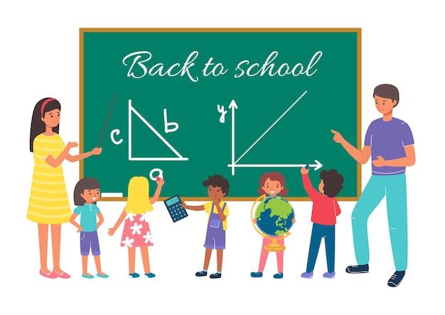 Insegnante di scuola per studente di istruzione in aula, torna all'illustrazione della scuola