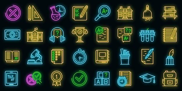 Set di icone di prova scolastica. delineare l'insieme delle icone vettoriali dei test scolastici a colori al neon su nero