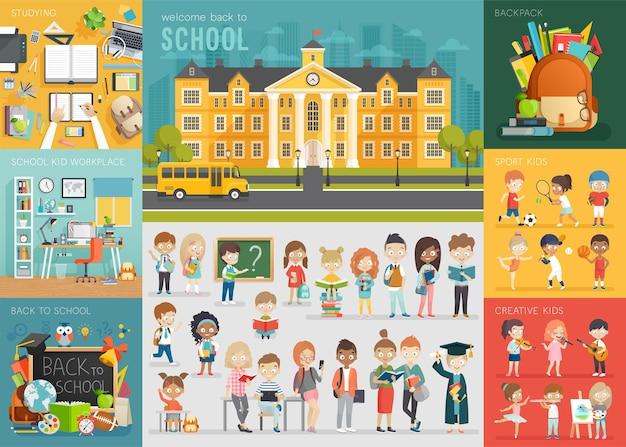 Set di temi scolastici torna a scuola sul posto di lavoro, bambini della scuola e altri elementi