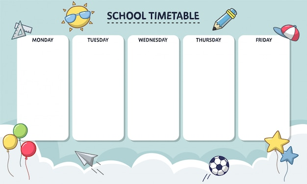 Modello orario scolastico con stile cartone animato. agenda settimanale per la scuola elementare.