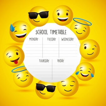 Orario scolastico tra emoji Vettore Premium