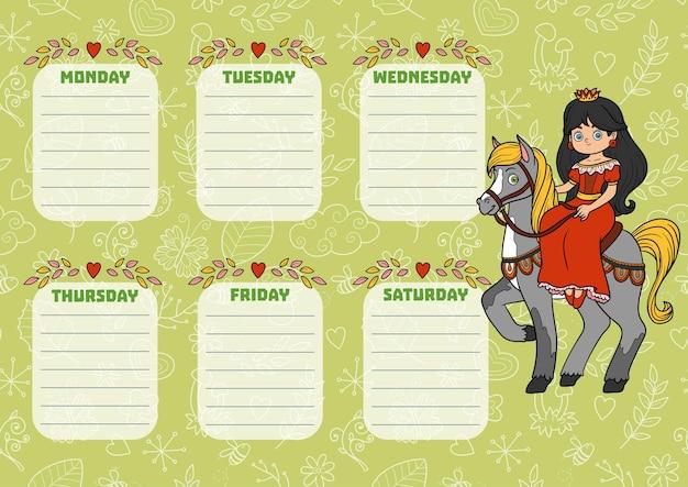 Orario scolastico per bambini con giorni della settimana. principessa dei cartoni animati a colori a cavallo