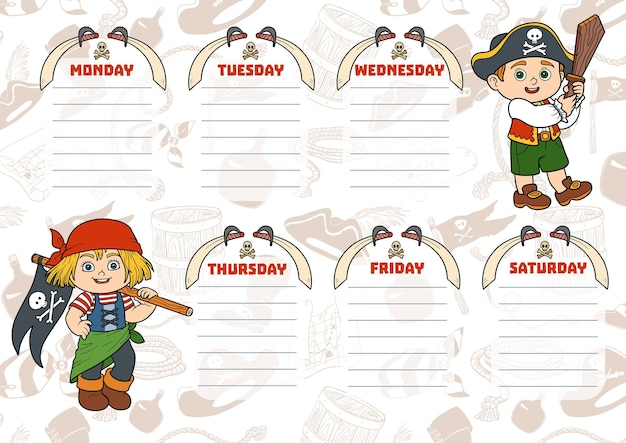 Orario scolastico per bambini con giorni della settimana. personaggi colorati dei pirati dei cartoni animati