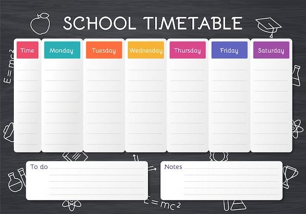 Orario scolastico. programma per i bambini. modello di piano dello studente sulla lavagna con icone di scuola di contorno. orario settimanale con lezioni.