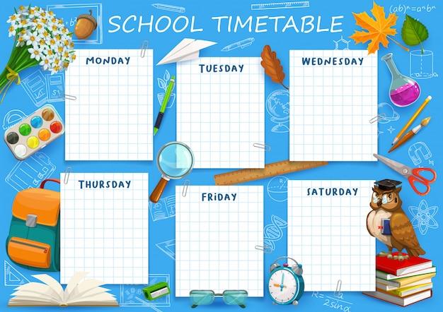 Modello di programma dell'orario scolastico, tabella del pianificatore settimanale, pianificatore del calendario degli studenti. ritorno a scuola, orario dell'organizzatore del programma educativo, borsa della scuola, matita, quaderno e acquerelli