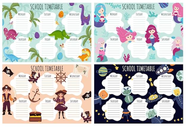Orario scolastico impostato. modello vettoriale di programma settimanale per studenti delle scuole, decorato con elementi del set dei pirati, del mondo sottomarino, dei dinosauri e degli elementi spaziali.