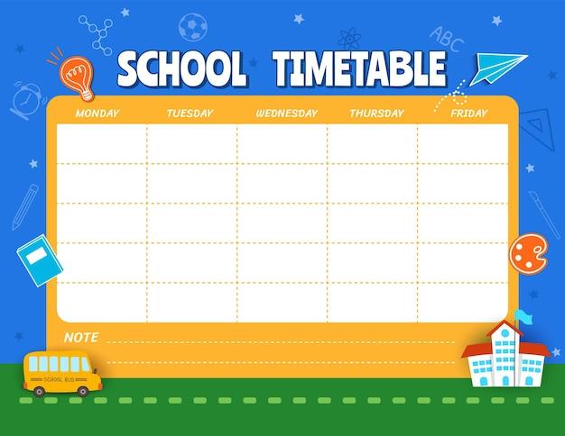 Modello di orario scolastico kids planner.