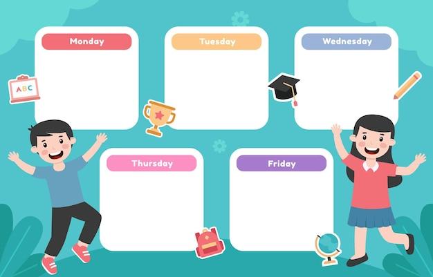 Modello di orario scolastico con illustrazione di bambini