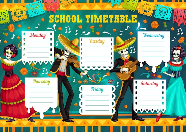 Modello vettoriale orario scolastico con scheletri messicani del giorno dei morti che suonano chitarra e violino con catrina che balla il flamenco. programma della settimana dell'istruzione personaggi dei cartoni animati delle vacanze di dia de los muertos