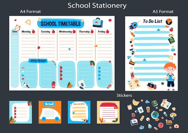 Orario scolastico per la settimana pianificatore del programma dopo la scuola piano delle lezioni di istruzione memo adesivi per bambini