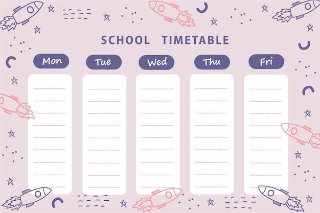 Orario scolastico, agenda settimanale