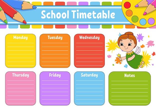 Orario scolastico con tabelline
