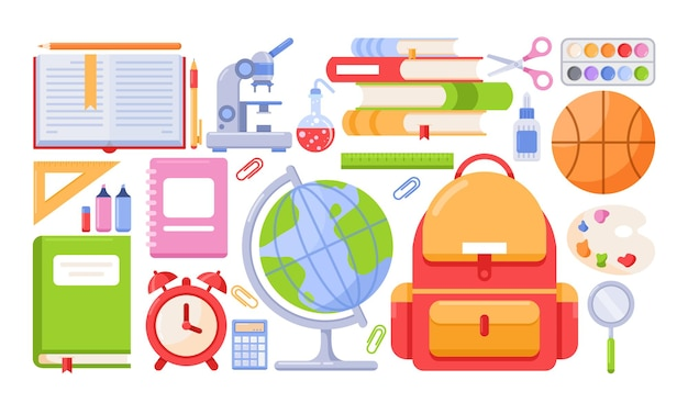 Set di strumenti scolastici. materiale scolastico e accessori per studenti, libri scolastici di carta, zaini.