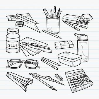 Illustrazione disegnata a mano degli utensili della scuola
